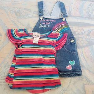 🌈 Girls Overalls With Matching Shirt.